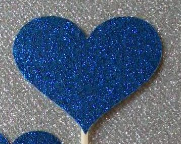 12 Large Heart Cupcake Toppers Sparkling ROYAL by DottiesWeddings