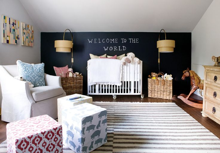 chalkboard wall and giant sconces: Nurseries, Chalkboards Paintings, Wall Sconces, Baby Rooms, Dark Wall, Chalkboards Wall, Black Wall, Kids Rooms, Accent Wall
