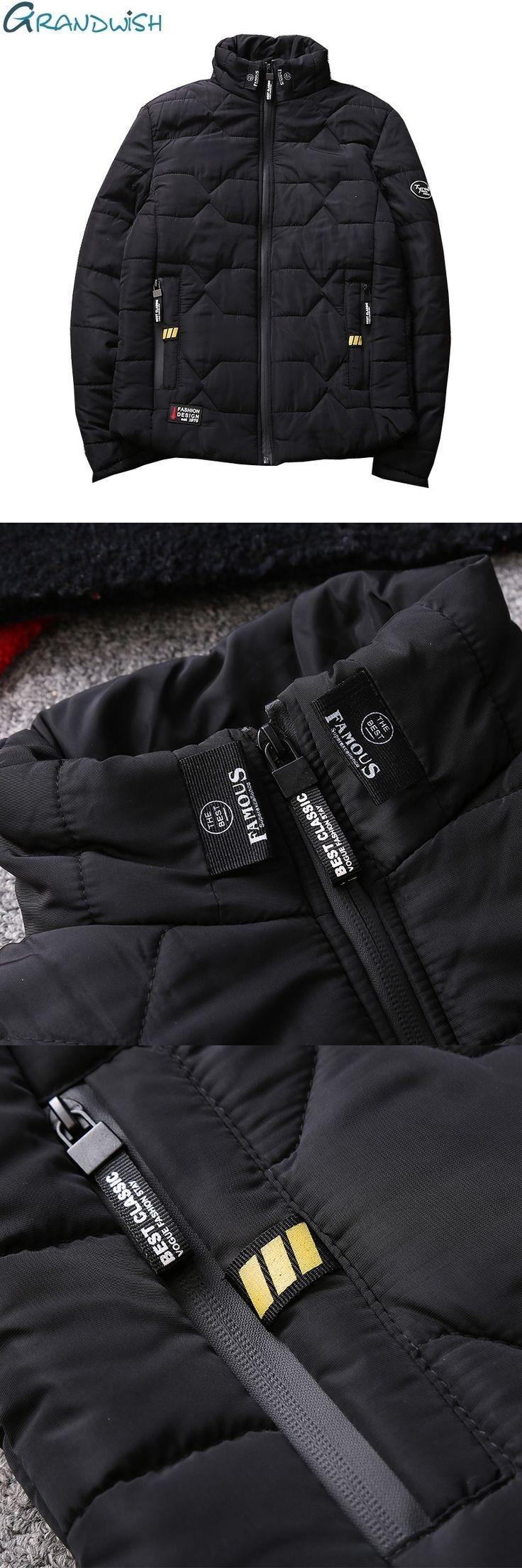 Grandwish Thick Cotton Padded Jacket Mens Stand Collar 2017 Fashion Winter Parkas Male Zipper Pocket Men's Parkas Jacket,DA421
