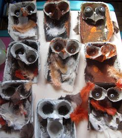 What a hoot...owls from paper egg cartons!