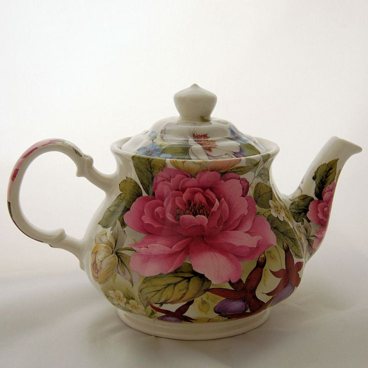 Vintage Sadler England English Teapot Floral Pink Cabbage