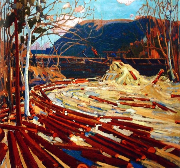 Tom Thompson. Reminds me of the drive up to Latuque, Quebec....seeing all the logs in the river along the way years ago.
