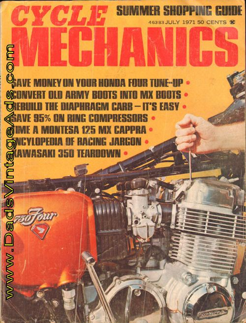 Contents: Honda 750 Tune-Up; Kawasaki 350 Teardown; Timing the Montesa 125; Maico Electrics; Converting Army Shoes to Riding Boots; Chamfering Piston Rings; Diaphragm Carburetor Tricks; Fork Brace Lowdown; Yamaha Grand Opening; Motorcycle Salvage Yards; Beef up that front end; Keen-Serts; The easy