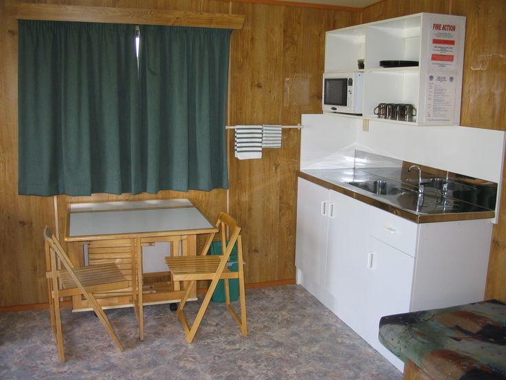 Kitchen Cabin interior, Cosy Corner Holiday Park, Mt Maunganui, New Zealand