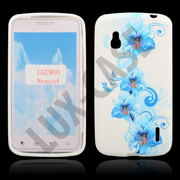 Symphony (Blue Flowers) Google Nexus 4 Suojakotelo