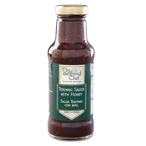 """Teriyaki Sauce with Honey - The Pampered Chef®  The sweet-saltiness of teriyaki and honey combined with sesame makes it easy to """"open sesame"""" every time you use it. This delicious blend is the perfect complement to stir-fry or any savory Asian dish you are creating. Net wt. 12 oz. Contains: soy, wheat.  Contains no high-fructose corn syrup."""