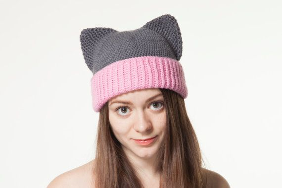 Grey Cat Hat with Ears Crochet Animal Hat Pink Warm by OneHatStore