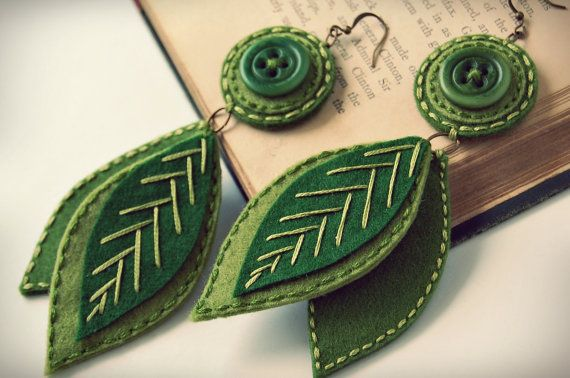 Beautiful embroidered wool earrings from etsy seller SewSweetStitches