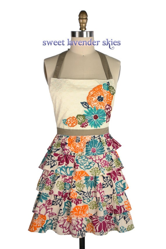 Hand embroidered ruffle down apron dress like style