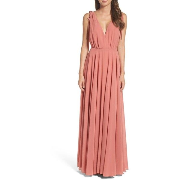 Women's Lulus V-Neck Chiffon Gown ($84) ❤ liked on Polyvore featuring dresses, gowns, rusty rose, plunging v neck dress, red rose dress, v neck gown, red chiffon gowns and red dress