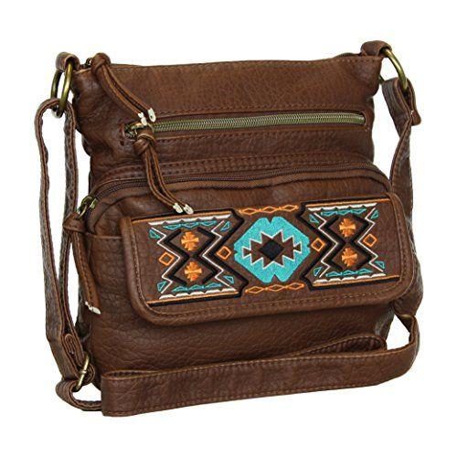 Women's Brown Faux Leather Crossbody Aztec Purse