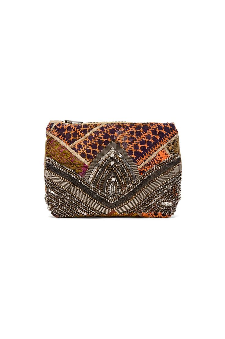 VIDA Leather Statement Clutch - Mardi Gras Tree Handbag by VIDA OtYqK