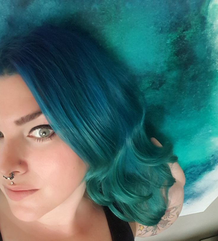 Took inspiration from my painting to go ocean ombre hair. #ManicPanic #Joico . Manic Panic -After Midnight blue, Joico -Mermaid blue, Manic Panic Sirens song