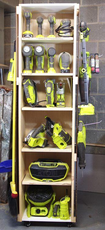 DIY Power Tool Storage Unit on Wheels