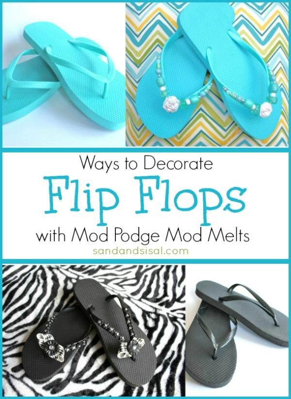 DIY Ways To Decorate Flip Flops DIY Mod Melt DIY Crafts