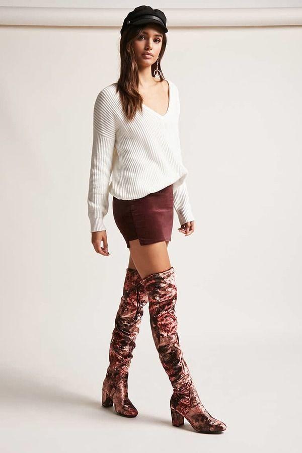 Forever 21 Floral Velvet Thigh-High Boots