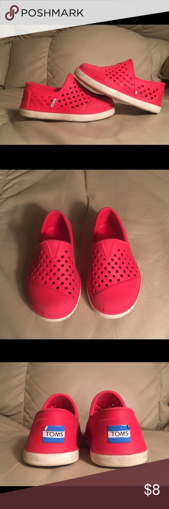 Red TOMS slip on shoes, size 5T Preloved red toddler TOMS, size 5T. Lightweight and waterproof. TOMS Shoes