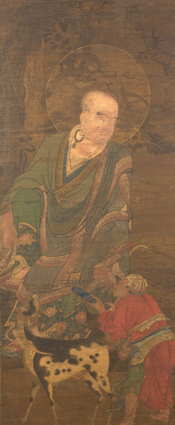 Rakan 羅漢図. Unidentified Artist. 16th century. Period: Muromachi period (1336–1573). Date: 15th–16th century. Culture: Japan. Medium: Hanging scroll; ink, color, gold, and cut gold on silk.