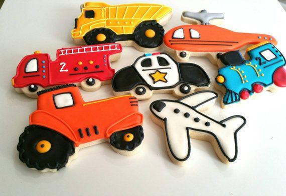 Transportation cookies royal icing sugar cookies  train cookie tractor cookie police cookie boy birthday party favor