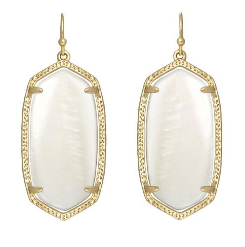 Kendra Scott Elle Earrings White Mother of Pearl 14k Gold Plated