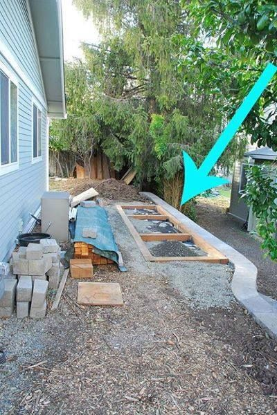 This side-yard had two challenges -- 1) keep out critters and 2) maximize usable space on a narrow strip of property between our house & the lot line. We had to squeeze in some usable shed space on our narrow side yard. At 4.5 feet wide and snugged up to