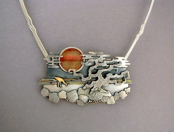 """Sunset"" necklace by Ahlene Welsh - sterling silver, 14 k gold, cat's-eye"