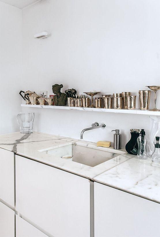 encimeras y en la cocina de mrmol