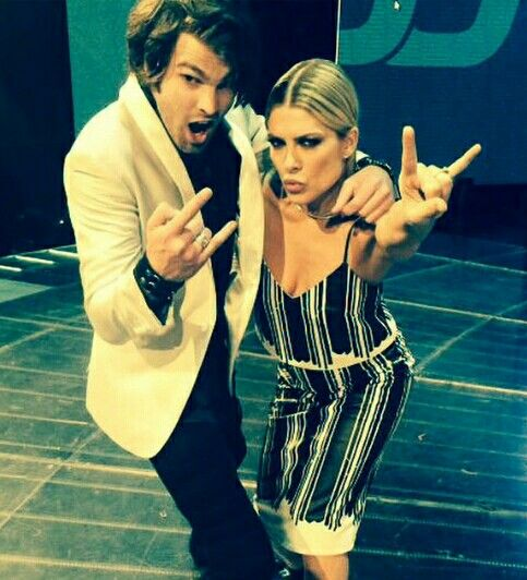 Natalie Bassingthwaighte and Dean Ray. Nat Bass wears Manning Cartell.  Xfactor Australia result show 8