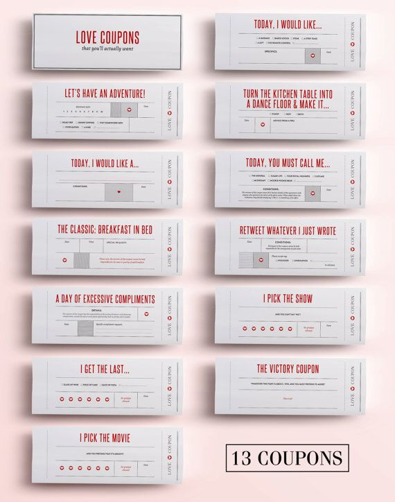 For all the fun loving couples out there looking for a unique gift, these Printable Love Coupons are made just for you!! Designed to bring fun, laughter and cuteness with each coupon, these are love coupons with a twist. Give your loved one the gift of trading in the following coupons thatll keep you both laughing with each coupon: - BREAKFAST IN BED (complete with disclaimer that you cannot be held responsible for the taste or quality of said breakfast) - A DAY OF EXCESSIVE COMPLIMENTS No…