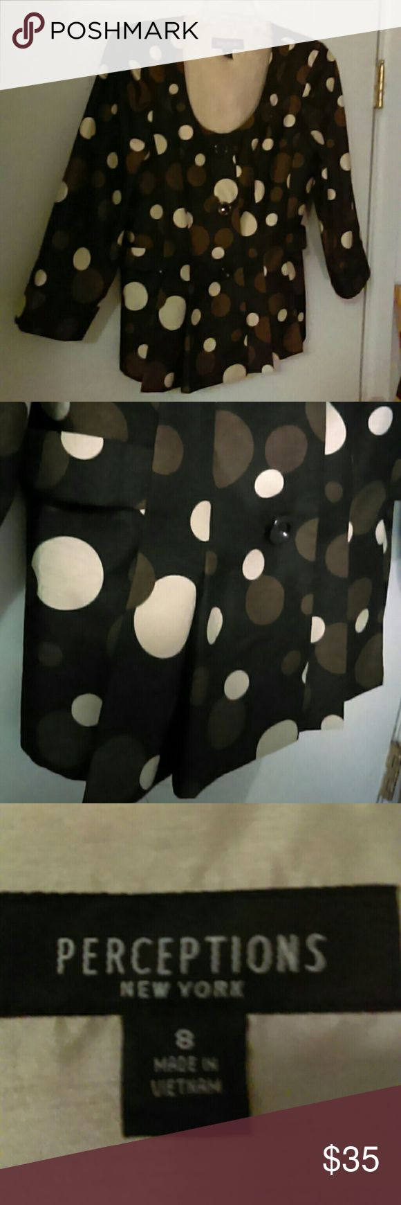 Adorable Dots Jacket NWOT Has attached belt and buttons detail from side to side in back. Pleats from waist to hip in front. Fabric has a sheen to it. Dark chocolate brown to black color, bronze and cream. I would pair this with dark brown black, bronze, cream ....or even bright colors ....like a sheath dress, slacks , skirt, jeans or Capri's..adding shoes or boots in one of the jacket colors. PERCEPTIONS  NEW YORK Jackets & Coats
