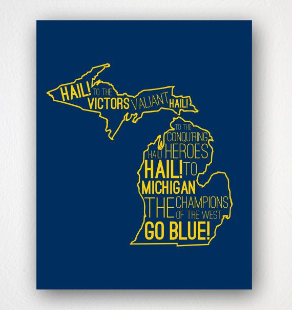 University of Michigan Fight Song Typography Poster - Hail to the Victors #michigan #uofm