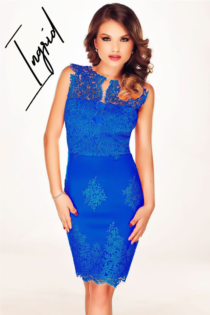 Elegant cone-shaped dress made from lace in cobalt blue hues: http://bit.ly/blue-dress-ingrid-made-from-lace