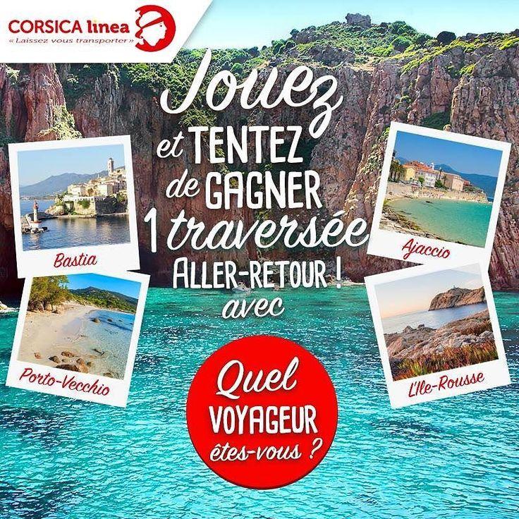 """Jouez à """"Quel voyageur êtes-vous? avec #CorsicaLinea"""" & tentez de remporter une traversée aller-retour et de nombreux cadeaux!  Pour participer rdv sur http://ift.tt/2gY5JU7"""