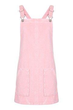 MOTO Pink Velvet Pinafore Dress