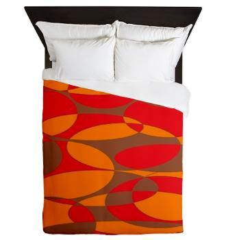 Red,Orange and brown elliptical design Queen Duvet