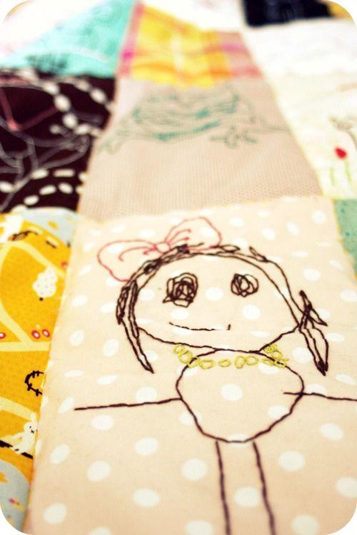 embroidered childrens drawing quilt idea..... MUITA IHANIA: MENNEIDEN MUISTELUA - osa 4