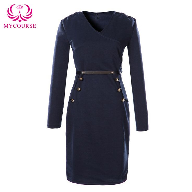Find More Dresses Information about MYCOURSE 2016 Women Spring Autumn Long Sleeve V Neck Button Business Office Lady Sheath Dress With Belt Vintage Pencil Fit Dress,High Quality button down shirt dress,China dress light Suppliers, Cheap button radio from MYCOURSE on Aliexpress.com