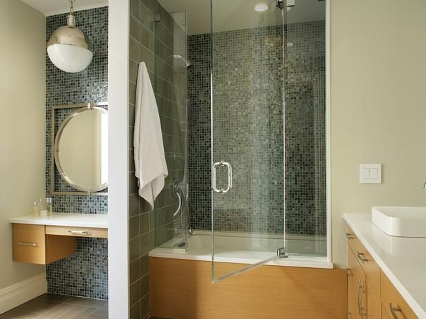 Mosaic Glass Tile w  Maple Cabinetry  http   www hgtv. 17 Best images about Bathroom Comfort Room Toilet designs on