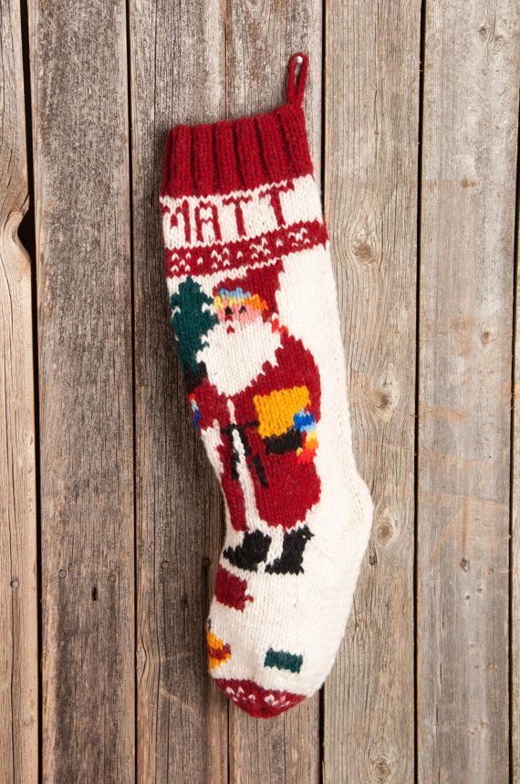 knit christmas stocking | Knitted Christmas Stockings / Personalized ...