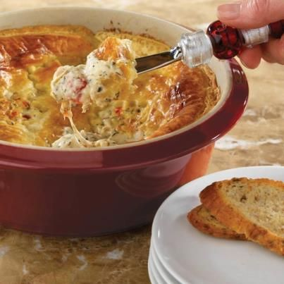 Pampered Chef Hot & Cheesy Bruschetta Dip - Delicious!!!!  Very good and super easy appetizer.