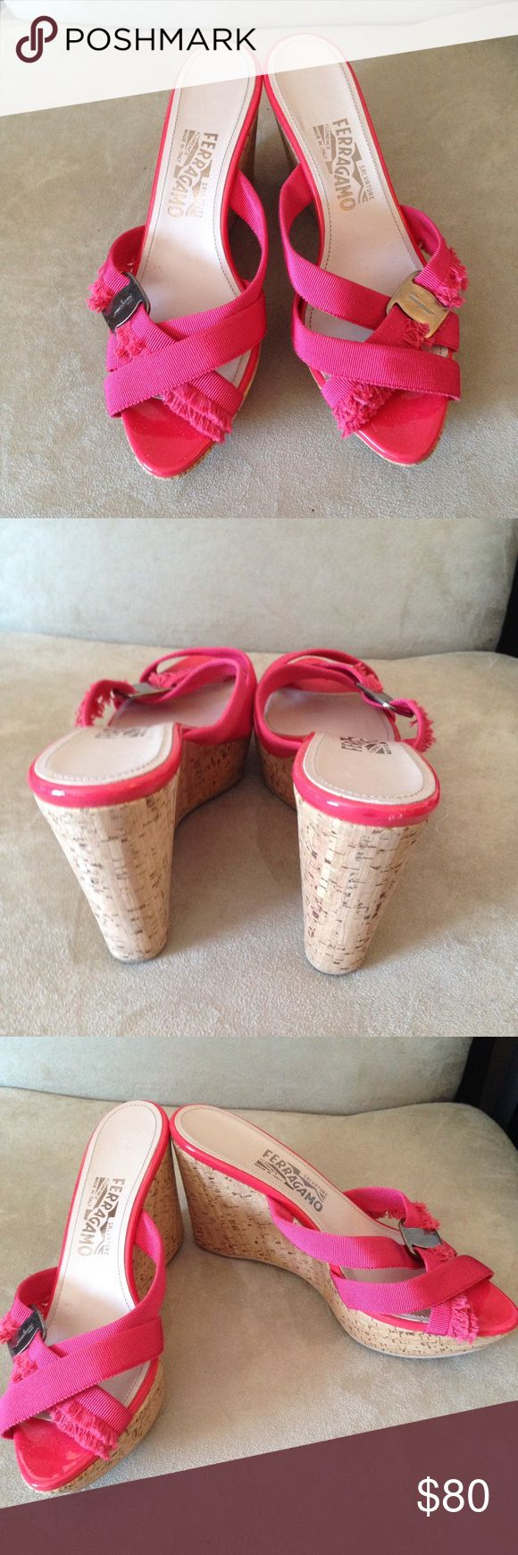 💥Salvatore Ferragamo 'Griselda' Cork Wedges💥 Only worn once, gorgeous hot pink cork 4 inch wedge sandals in excellent condition! Salvatore Ferragamo Shoes Sandals