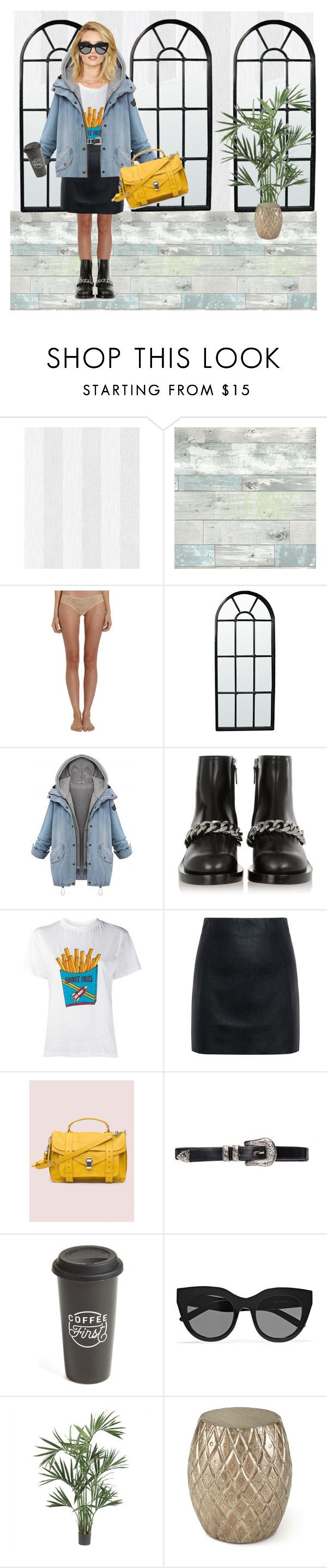 """""""#helloyehw"""" by sascha-haarup on Polyvore featuring Wall Pops!, Cosabella, Noir, Givenchy, Ganni, McQ by Alexander McQueen, Proenza Schouler, The Created Co., Le Specs and Nearly Natural"""