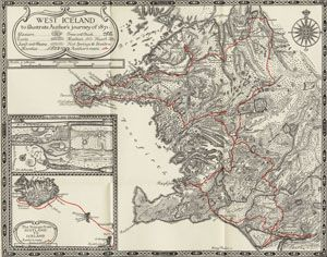 """The red line on this map from """"The Collected Works of William Morris: Journals of Travel in Iceland, vol. VIII."""" illustrates William Morris's 1871 journey in Iceland."""