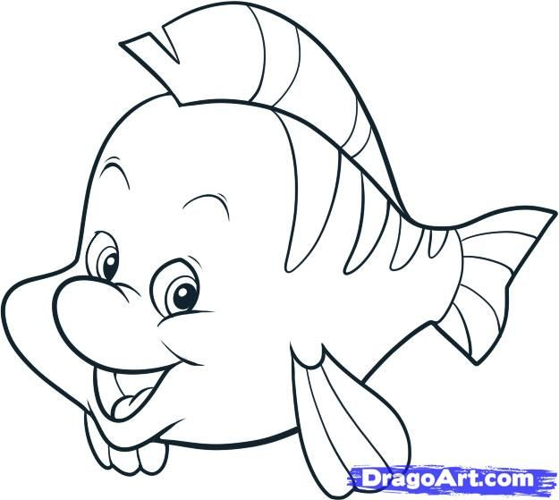 How to draw flounder step by step disney characters cartoons