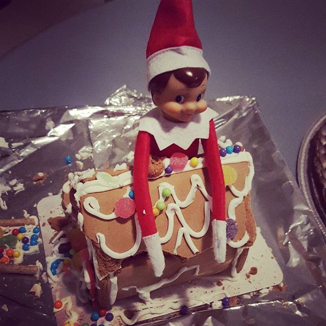 Uh oh! #elfontheshelf got into the #gingerbreadhouse!