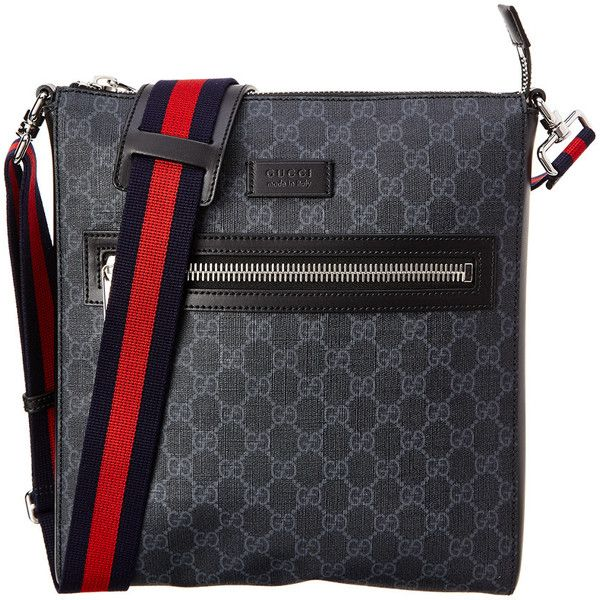 1311735a3 Gucci Gg Supreme Canvas Messenger ($700) ❤ liked on Polyvore featuring men's  fashion, men's bags, men's messenger bags, black, mens messenger bag, gucci  ...