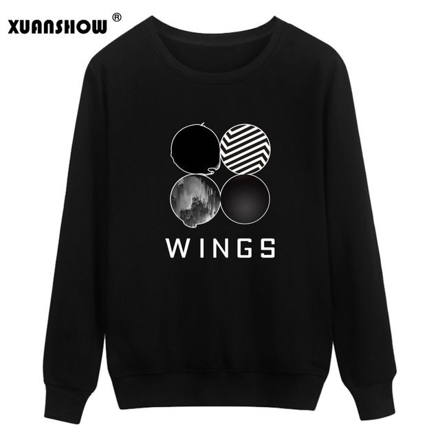 XUANSHOW Wings Album Sweatshirts Kpop Sweatshirt Women Korean Popual Bangtan Boys Autumn Winter Women Hoodies #Brand #XUANSHOW #sweaters #women_clothing #stylish_dresses #style #fashion