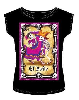 Day of the Dead Shirt with sequins and ribbon El baile