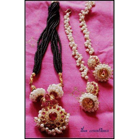 Maharashtrian Mangalsutra(moti) with earrings-Jewellery-Iha Creations