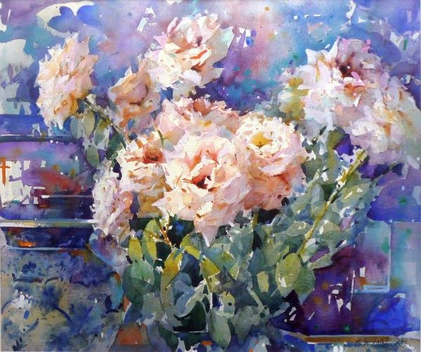 Geoffrey Wynne Acuarelas - Watercolours: ROSAS Y JARRÓN CHINO - ROSES AND CHINESE JAR